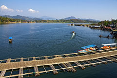 Bamboo bridge float Royalty Free Stock Image