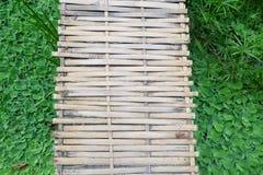 Bamboo bridge and green grass Stock Image