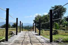 Bamboo bridge on green  nature. Perspective of bamboo bridge on green nature with mountain and blue sky Royalty Free Stock Photos