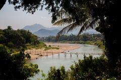 Bamboo bridge in Luang Prabang Stock Photo