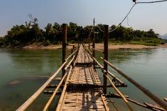 Bamboo bridge in Luang Prabang Stock Photos