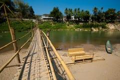 Bamboo bridge in Luang Prabang Royalty Free Stock Photo