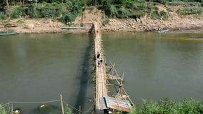 Bamboo bridge on the Nam Khan River, Luang Prabang ,Laos Royalty Free Stock Photos