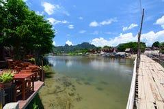The bamboo bridge on Nam Song river. Vang Vieng. Laos Royalty Free Stock Images