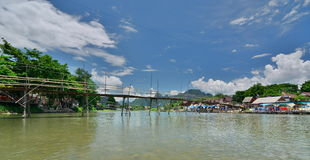 The bamboo bridge on Nam Song river. Vang Vieng. Laos Stock Photography