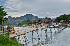 The bamboo bridge on Nam Song river. Vang Vieng. Laos Stock Image