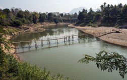 Bamboo bridge over river of mekong. In Lao Royalty Free Stock Photo