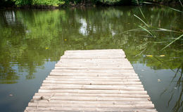 Bamboo bridge in pond Stock Photography