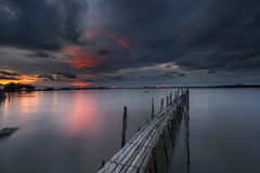 Bamboo bridge. At The sunset Stock Images