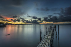 Bamboo bridge. At The sunset Royalty Free Stock Photography