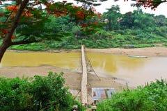 Bamboo bridge to cross over Khan river in Luang Pra Bang,Lao Royalty Free Stock Image