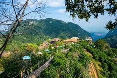 Free Bamboo Bridge With Mountain View In Pha Hi Village Stock Images - 160361734