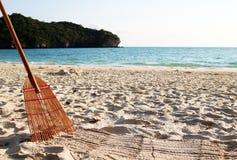 Bamboo broom on the beach. Stock Image