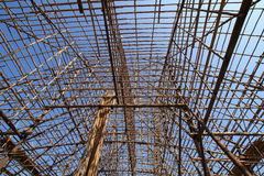 Bamboo building. Bamboo frame to construct a building, they rope it up and do not using any stock photography