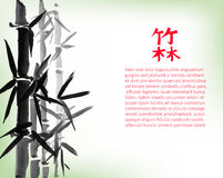 Bamboo bunch and leaves, chinese style painted card design template, background with copy space. Chinese calligraphy hieroglyphs translation: bamboo forest Stock Photography