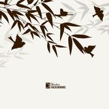 Bamboo bush with birds Royalty Free Stock Image