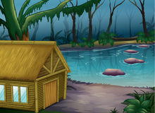 Bamboo cabin in the woods stock illustration