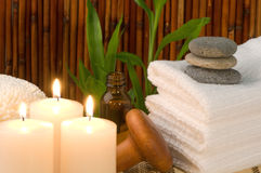 bamboo candles scene spa Στοκ Φωτογραφίες
