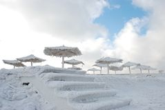 Bamboo canopies on the beach in winter Stock Photography