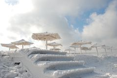 Bamboo canopies on the beach in winter Royalty Free Stock Photo