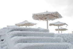 Bamboo canopies on the beach in winter Stock Photos
