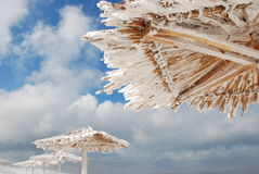 Bamboo canopies on the beach in winter Royalty Free Stock Image