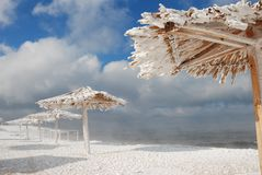 Bamboo canopies on the beach in winter Royalty Free Stock Photos