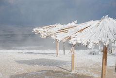 Bamboo canopies on the beach in winter Stock Images