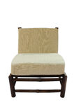 Bamboo chair with pillow  isolated. On white background Royalty Free Stock Photo