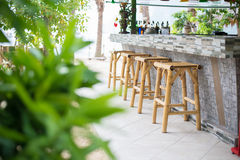 Bamboo chairs, Beach Bar Stock Images
