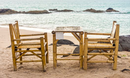 Bamboo chairs and table on Pak Weep beach Stock Photo