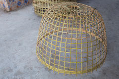 Bamboo chicken coop. Chicken coop are made of bamboo Royalty Free Stock Image