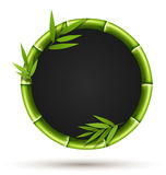 Bamboo circle frame with leafs isolated on white Stock Images