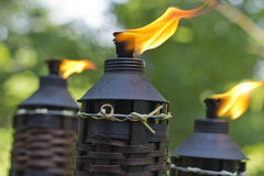 Bamboo Citronella Torch. Es to repell mosquitoes and other insects Royalty Free Stock Photos