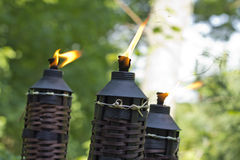 Bamboo Citronella Torch. Es to repell mosquitoes and other insects Royalty Free Stock Image