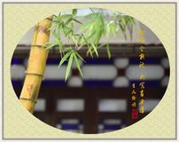 Bamboo with classical Chinese poetry, traditional Chinese painting style. stock photos