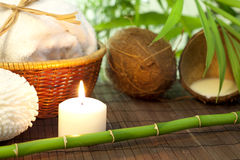 Bamboo and coconut milk spa cosmetic still life Royalty Free Stock Photos