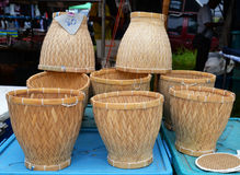 Bamboo container for cooked rice Stock Photo