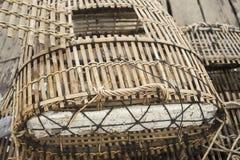 Bamboo crab cages at kep market cambodia Royalty Free Stock Images