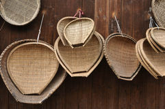 Bamboo craft. Some baskets of chinese bamboo craft royalty free stock photo
