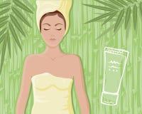 Bamboo cream massage girl Royalty Free Stock Photography