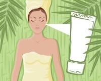 Bamboo cream massage girl Royalty Free Stock Photos