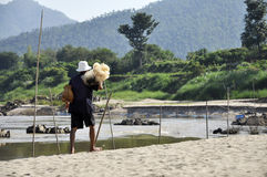 Bamboo Creel Fisherman Walk Beach Net Royalty Free Stock Photography