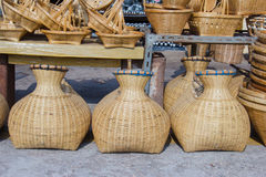Bamboo creel. In a market Royalty Free Stock Photos