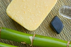 Bamboo, crystals, minerals and soap Royalty Free Stock Photography