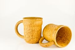 Bamboo cups on white background Stock Photography