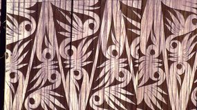 Bamboo curvings. Carved bamboo walls often used by the Bidayuh ethnic tribes of Sarawak state Malaysia Stock Photography