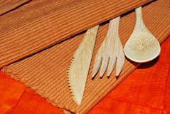 BAMBOO CUTLERY SET Stock Image