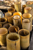 Bamboo cylindrical, yellow, dry, green, bamboo pile. Stock Photography