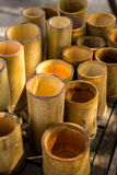 Bamboo cylindrical, yellow, dry, green, bamboo pile. Stock Image